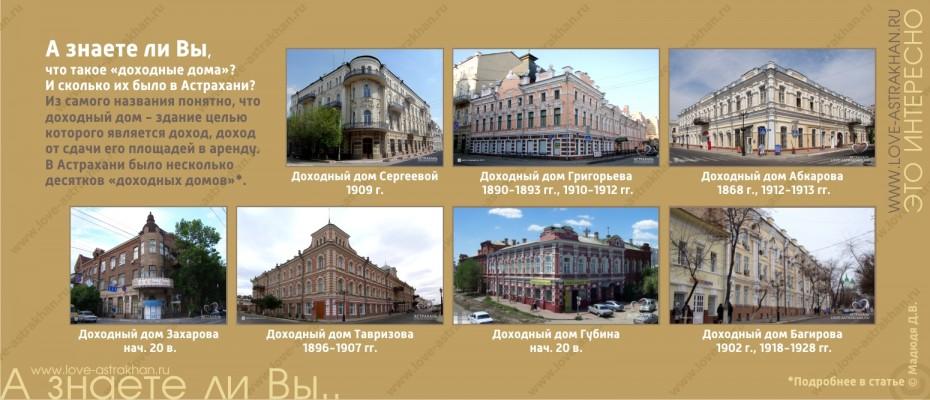 А знаете ли Вы, что такое «доходные дома»? И сколько их было в Астрахани?
