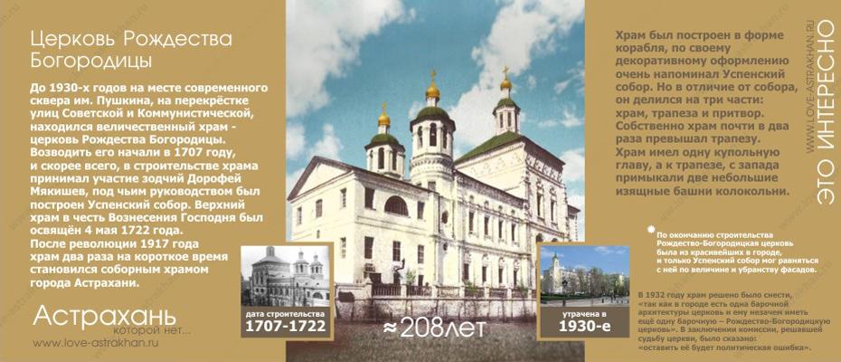 Астрахань которой нет - утраченные памятники архитектуры. Церковь Рождества Богородицы